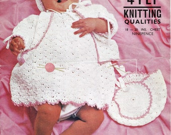 "Baby Matinee Coat, Dress & 2 Bonnets 4ply 18-20"" Lister N1831 Crochet Pattern PDF instant download"