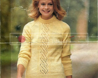 Lady's Lace Panel Sweater 32-42in DK Patons 1918 Vintage Knitting Pattern PDF instant download