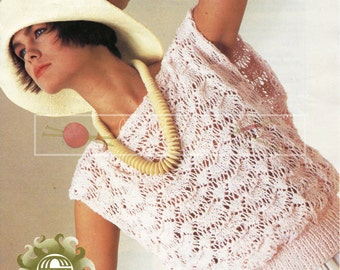 "Lady's Summer Top 32-38"" DK Sirdar 6766 Vintage Knitting Pattern PDF instant download"