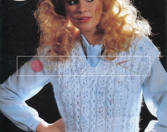 """Lady's Waistcoat 30-42"""" Chunky Sirdar 6429 Vintage Knitting Pattern PDF instant download"""