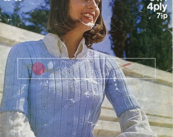 Lady's Short Sleeved Top 4-ply 32-38in Sirdar 5242 Vintage Knitting Pattern PDF instant download