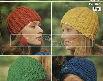 Lady's Caps Chunky Sirdar 5317 Vintage Knitting Pattern PDF instant download