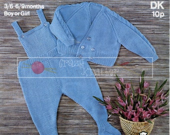 Baby Pram Set DK 19-20in Sirdar 3202 Vintage Knitting Pattern PDF instant download