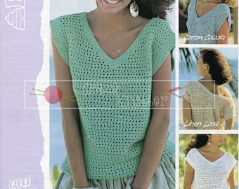 Lady's Lacy V-Neck Summer Top 32-38in DK Patons 7426 Vintage Knitting Pattern PDF instant download