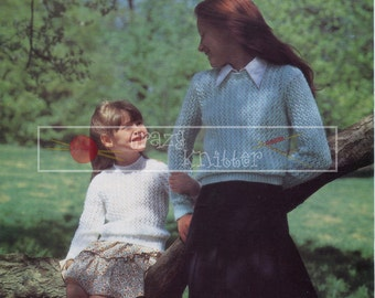 "Girl's Lace Sweater 24-30"" DK Sirdar 4292 Vintage Knitting Pattern PDF instant download"