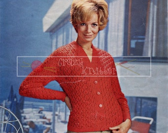 "Lady's Patterned Cardigan 34-40"" 4-ply Sirdar 2493 Vintage Knitting Pattern PDF instant download"