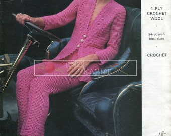 "Lady's Trouser Suit 4ply 34-38"" Emu 2814 Crochet Pattern PDF instant download"