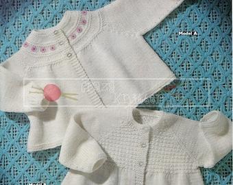 Baby Matinee Coats 3-6 months DK Sirdar 3021 Vintage Knitting Pattern PDF instant download