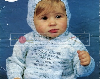 "Baby Hooded Sweaters 20-22"" DK Sirdar 3403 Vintage Knitting Pattern PDF instant download"