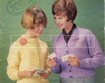 "Lady's Raglan Cardigans 32-36"" DK Sirdar 2023 Vintage Knitting Pattern PDF instant download"