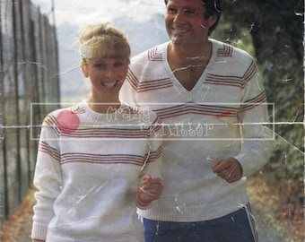 "Unisex Sweater 30-44"" DK Sirdar 6267 Vintage Knitting Pattern PDF instant download"