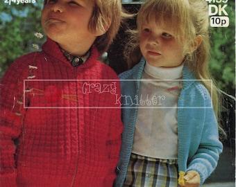 Children's Lumber Jacket 2-4 years DK Sirdar 4159 Vintage Knitting Pattern PDF instant download