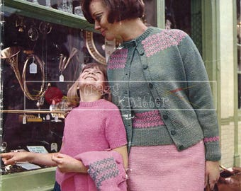 Child Lady Twin Set 27-29in and 35-37in DK Patons 6005 Vintage Knitting Pattern PDF instant download