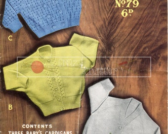 Baby Cardigan 6-12 months 3-ply Sirdar Sunshine Series 79 Vintage Knitting Pattern PDF instant download