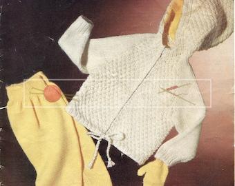 Baby's Anorak Suit & Mittens 1-2 years DK Sirdar 280 Vintage Knitting Pattern PDF instant download