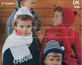 Childrens Helmets Caps Scarves 2-4 years DK Sirdar 3189 Vintage Knitting Pattern PDF instant download