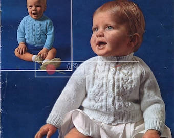 Baby Toddler Cardigans 3ply 4ply 18-22in Patons SC144 Vintage Knitting Pattern PDF instant download