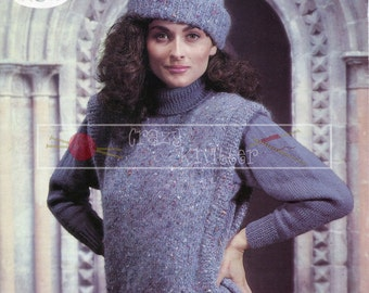 Lady's Sweater and Cap 32-40in DK Sirdar 6544 Vintage Knitting Pattern PDF instant download