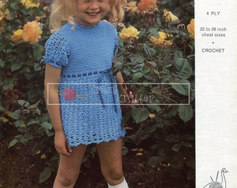 "Girl's Dress  4 ply 22-26"" Emu 6404 Crochet Pattern PDF instant download"