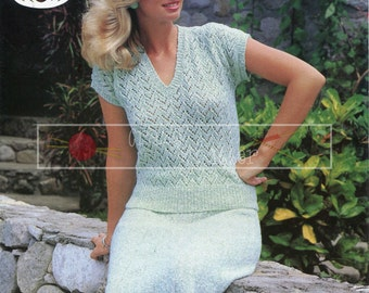"Lady's Summer Top and Skirt 32-40"" 4-ply Sirdar 6496 Vintage Knitting Pattern PDF instant download"