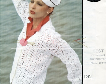 "Lady's Lace Cardigan 32-42"" DK Sirdar 6008 Vintage Knitting Pattern PDF instant download"