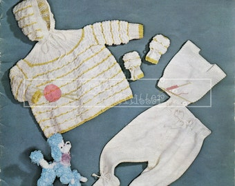 Baby Pram Set DK 3-12 months Sirdar 248 Vintage Knitting Pattern PDF instant download