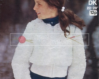 "Girl's Zipped Cardigan 22-28"" DK Sirdar 4236 Knitting Pattern PDF instant download"