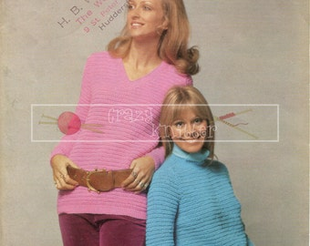 "Lady's Longline Sweater 34-40"" DK Sirdar 5274 Vintage Knitting Pattern PDF instant download"
