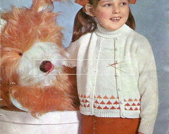 Girl's Twin Set  4ply 24-29in Patons 6028 Knitting Pattern PDF instant download
