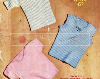 Children's Vests 1-4 years 3-ply Sirdar Sunshine Series 82 Vintage Knitting Pattern PDF instant download