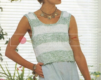 "Lady's Summer Top DK 30-40"" Sirdar 7132 Vintage Knitting Pattern PDF instant download"