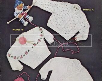 Baby Cardigans 12-18 months DK Sirdar 230 Vintage Knitting Pattern PDF instant download