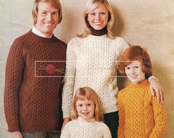Family Aran Sweaters DK Aran 22-44in King Cole 3016 Vintage Knitting Pattern PDF instant download