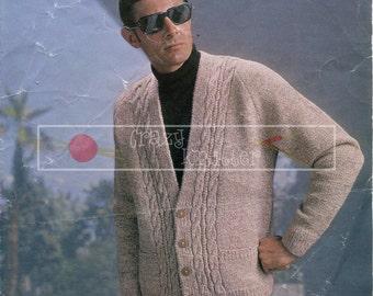 """Men's Raglan Cardigan 36-42"""" DK Sirdar 2551 Vintage Knitting Pattern PDF instant download"""