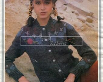 Girl's Fairisle Cardigan Chunky 32-40in Knitting Pattern PDF instant download