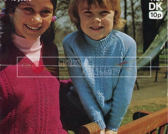 Children's Sweaters 6-10 years DK Sirdar 4151 Vintage Knitting Pattern PDF instant download