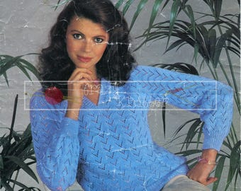 "Lady's Lace Sweater 32-38"" 4ply Sirdar 6171 Vintage Knitting Pattern PDF instant download"