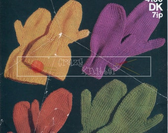 Childrens Mittens 2-13 years DK Sirdar 4130 Vintage Knitting Pattern PDF instant download