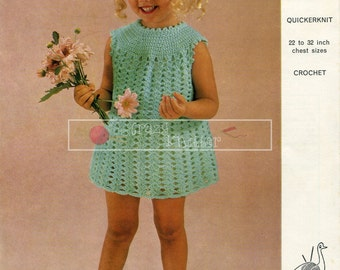 "Girl's Dress  4 ply 22-32"" Emu 6370 Crochet Pattern PDF instant download"