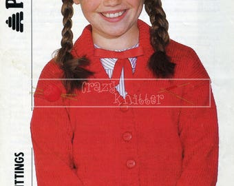 Girl's Shawl Collar Cardigan 22-32in DK Patons 8661 Vintage Knitting Pattern PDF instant download
