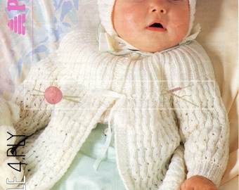 Baby Matinee Coat and Bonnet 14-20in 4ply Patons 8348 Vintage Knitting Pattern PDF instant download