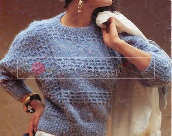 Lady's Sweater Aran 32-40in Sirdar 6957 Vintage Knitting Pattern PDF instant download