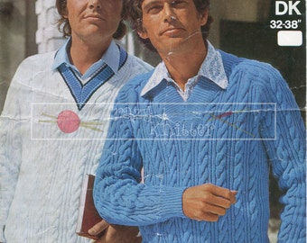 "Men's Sports Cable Sweater 32-38"" DK Sirdar 5710 Vintage Knitting Pattern PDF instant download"