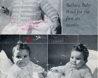 Baby Matinee Coats 3-ply 0-6 months Patons 1296 Vintage Knitting Pattern PDF instant download
