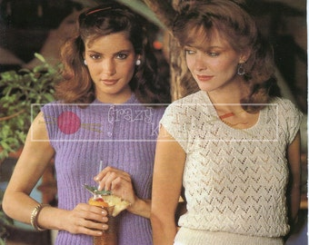 """Lady's Summer Tops 32-38"""" 4-ply Sirdar 6215 Vintage Knitting Pattern PDF instant download"""