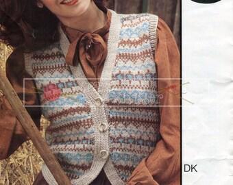Lady's Fairisle Waistcoat DK 32-40ins Sirdar 5963 Vintage Knitting Pattern PDF instant download