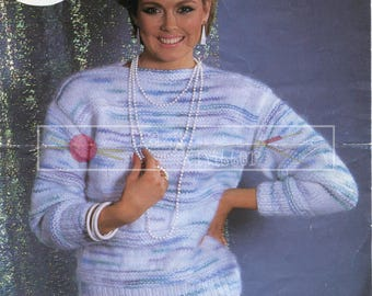 "Lady Sweater 30-42"" Chunky Sirdar 6629 Vintage Knitting Pattern PDF instant download"