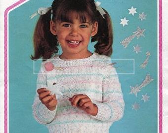 "Child's Round Neck Sweater DK 18-22"" Peter Pan P406 Vintage Knitting Pattern PDF instant download"