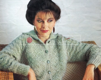 Lady's Cardigan Chunky 30-44in Sirdar 6240 Vintage Knitting Pattern PDF instant download