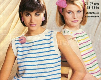 Child Teen Lady's Summer Top 28-38in DK Patons 7830 Vintage Knitting Pattern PDF instant download